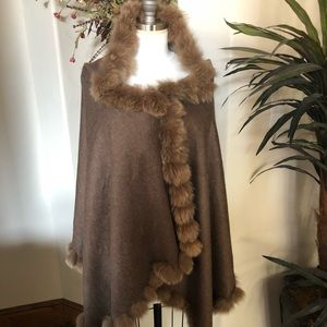 Gaby & Eden cashmere and fur wrap. Light brown